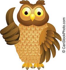 Owl cartoon with thumb up