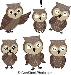 owl character collection design
