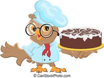 Owl Chef holding cake