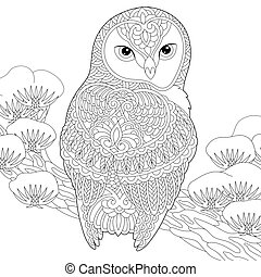 Coloring book page. Anti stress colouring picture with owl.