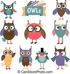 Owl coloured icons set. Different colours cute owls with...