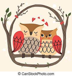 Owl Couple Branch