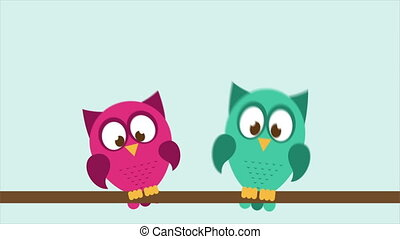 Owl couple in love Animation