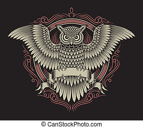fully editable vector illustration of owl crest isolated on black background, image suitable for crest, coat of arms, tattoo, or t-shirt design