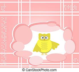 owl cute Cartoon bird greeting card