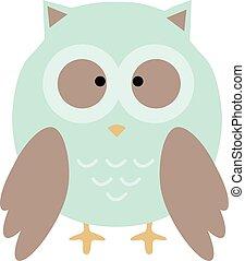 owl cute in vector. cartoon owl.