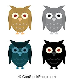 Owl day night gray and Halloween black owl