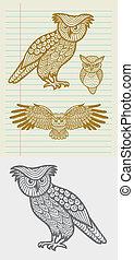 Owl decorative ornament sketch