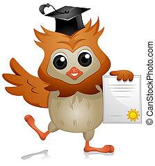 Owl Diploma - A Cute Owl Holding a Diploma