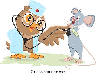 Owl doctor and patient mouse. Vector cartoon illustration