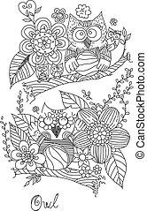 Owl Doodle Art Line Vector