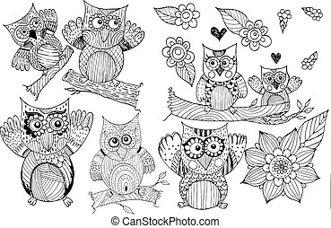 Owl Doodle Vector