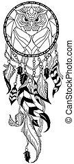 owl dreamcatcher black and white