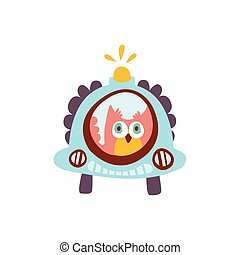Owl Driving A Car With Blinker Stylized Fantastic Illustration