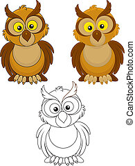 Owl with big yellow eyes, color and black-and-white outline...