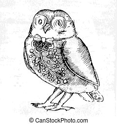 Owl-etching, black and white illustration