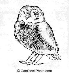 Owl-etching, black and white illustration