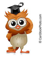 Owl Eyeglasses - A Bespectacled Owl Adjusting His/Her...