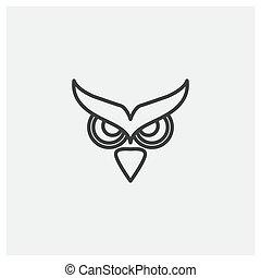 owl eyes flat line modern logo design