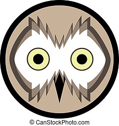 Owl face in the beige circle