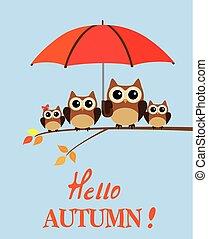 owl family autumn