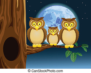 Vector illustration of owl cartoon with full moon background