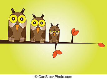 Owl Family - Hand drawn Illustration of a family of owls...
