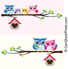 owl family illustration