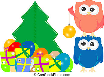 owl family on Merry Christmas Greeting Card