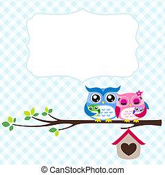 owl family spring invitation card