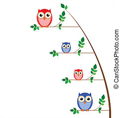 Owl family tree isolated on white background