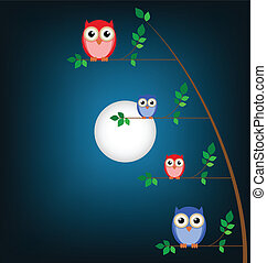Owl family tree against a night sky