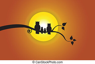 owl family yellow sun orange sky - Evening sun, tree leaf &...