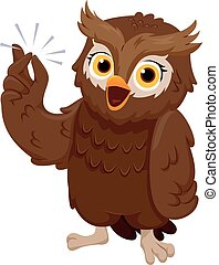 Owl Finger Snap - Illustration of an Owl Smiling Happily...
