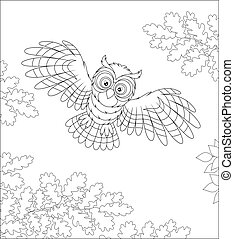 Striped predatory bird with big round eyes hunting and hovering over a wild forest, black and white vector cartoon illustration for a coloring book page