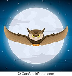 Owl flying with full moon and star background