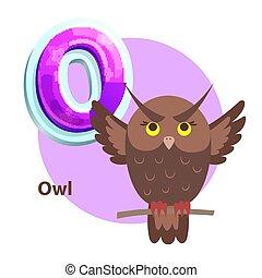Owl for O Letter Cartoon Alphabet for Children