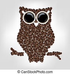 Owl From Coffee, Isolated On Grey Background, Vector Illustration