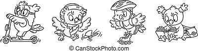 Owl. Funny little bird coloring book set