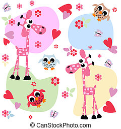 owl giraffe love print background