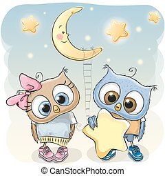 Owl Girl and Boy with a star