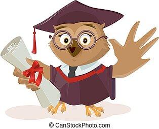 Owl graduate holding diploma
