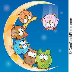 owl group cartoon on moon