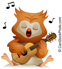 A Cute Owl Singing While Strumming His Guitar