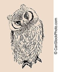 Owl hand drawn, black and white