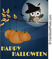 Little brown owl with witch hat on, sitting on branch as it was broom, with pumpkins and happy Halloween text
