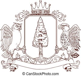 owl-hawk-redwood-crown-CREST-BW - Drawing sketch style...