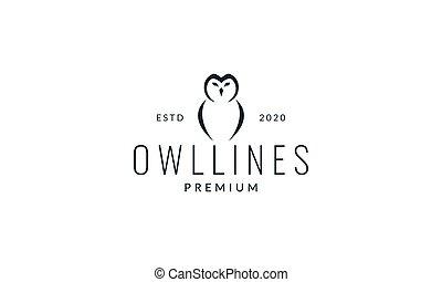 owl head and wings line modern logo vector illustration design