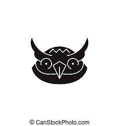 Owl head black vector concept icon. Owl head flat illustration, sign