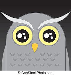 Gray owl cartoon head in the night